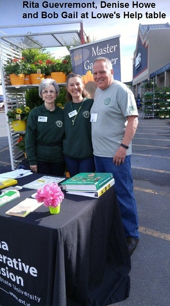Rita Guevremont, Denise Howe and Bob Gail at Lowe's Help table in Winchester, 14 May