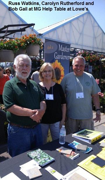Russ Watkins, Carolyn Rutherford and Bob Gail at MG Help Table at Lowe's 28 May